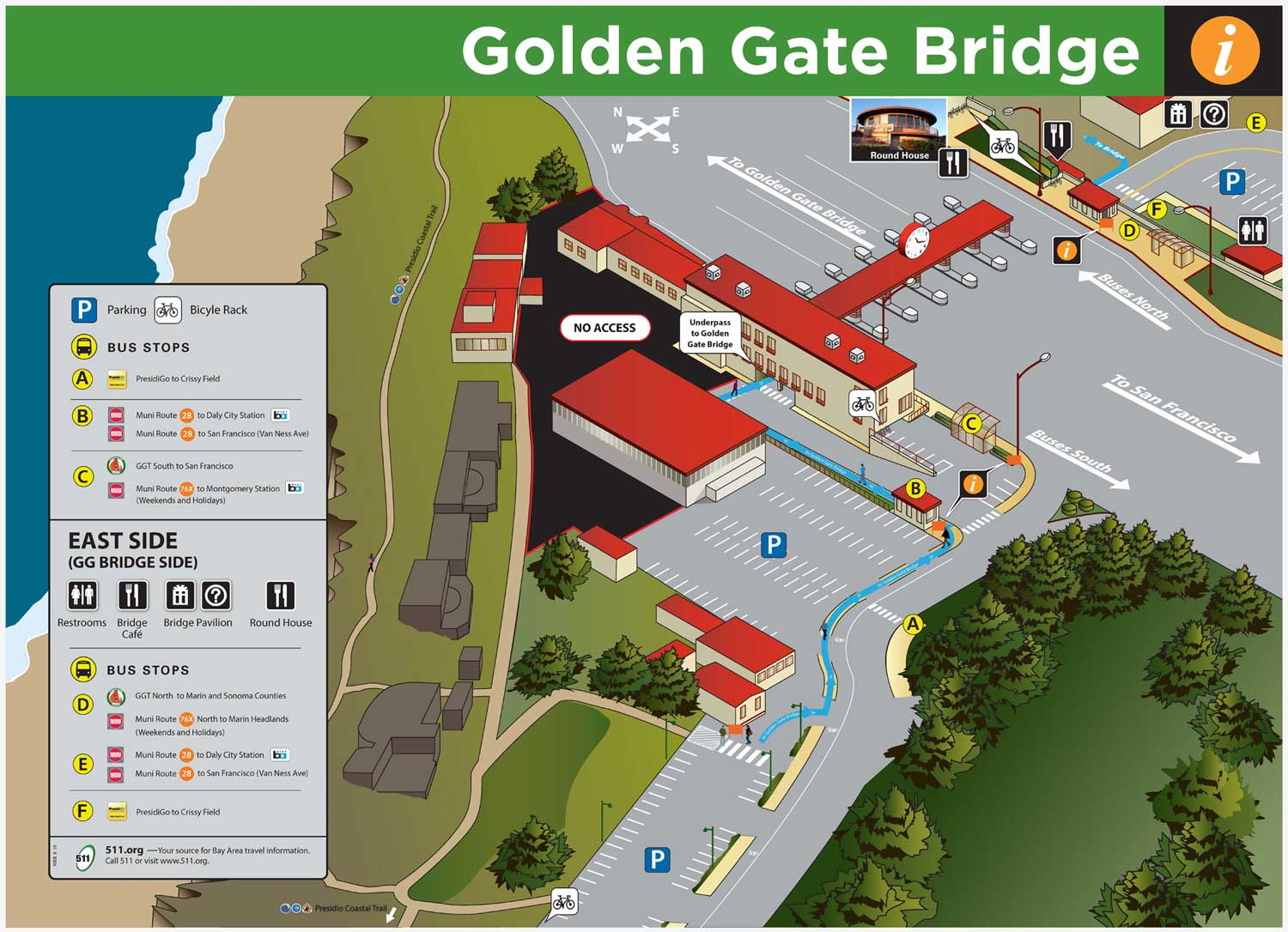Golden Gate Bridge Parking & Bus Stop Map